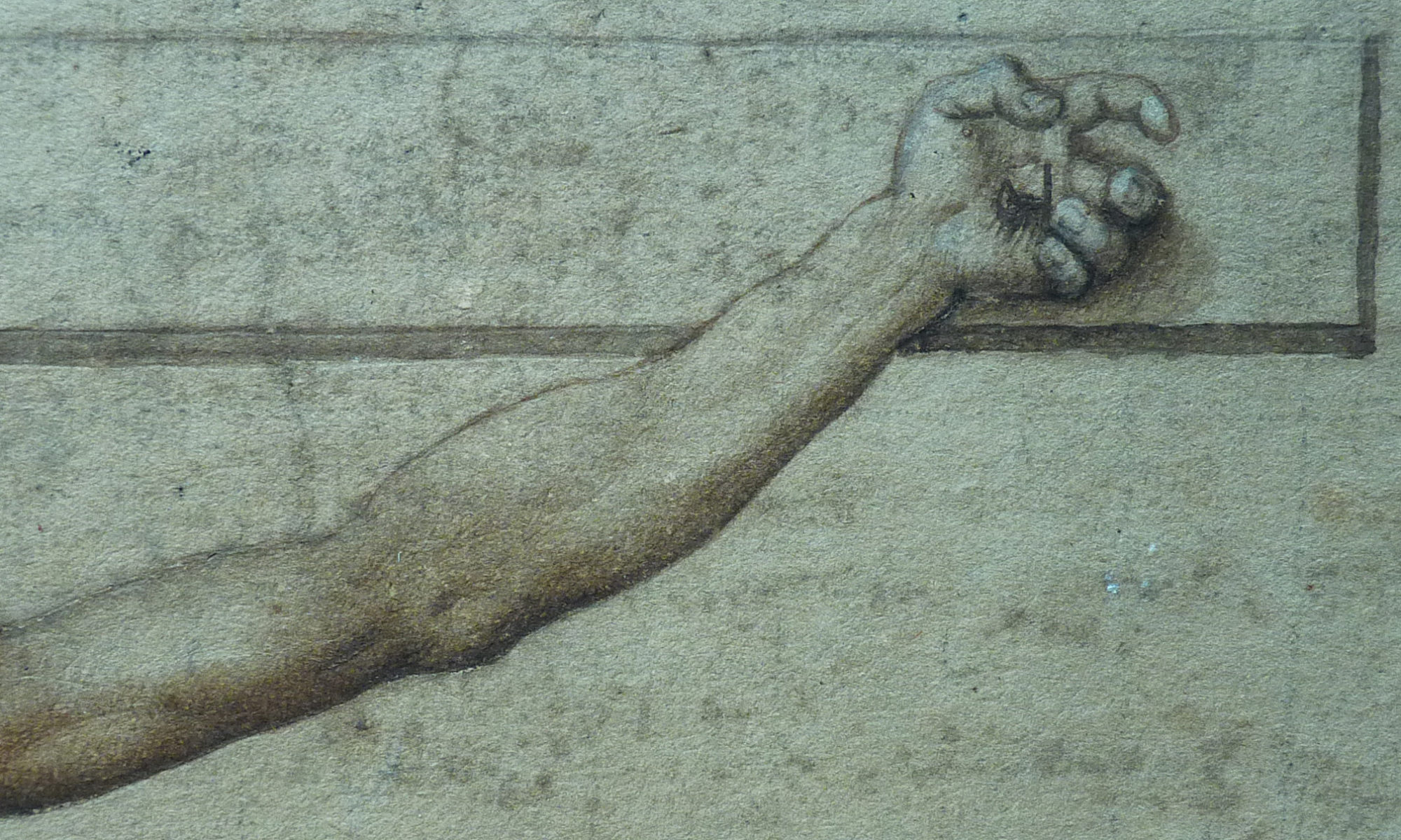Jesus nailed hand on cross on marble stone