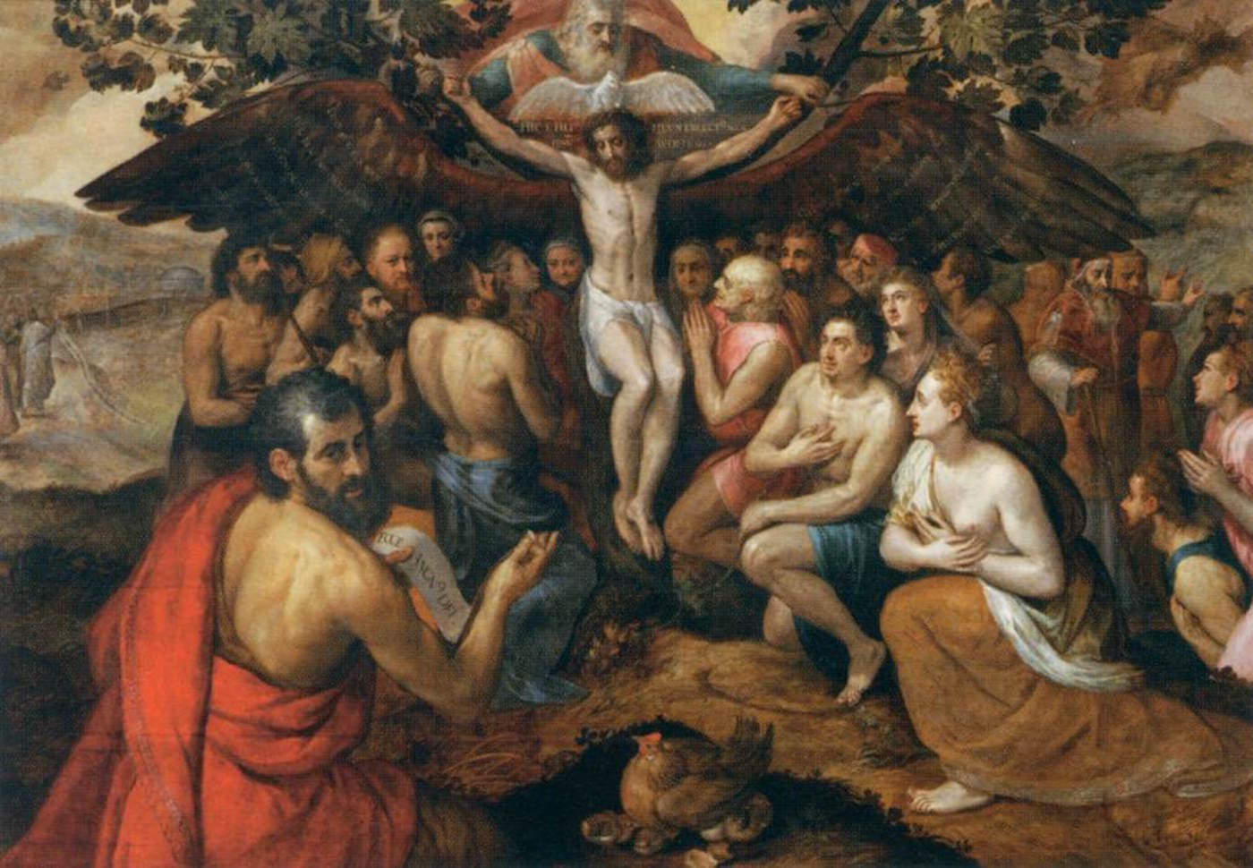 Frans Floris painting, The Sacrifice of Jesus Christ Son of God Gathering and Protecting Mankind