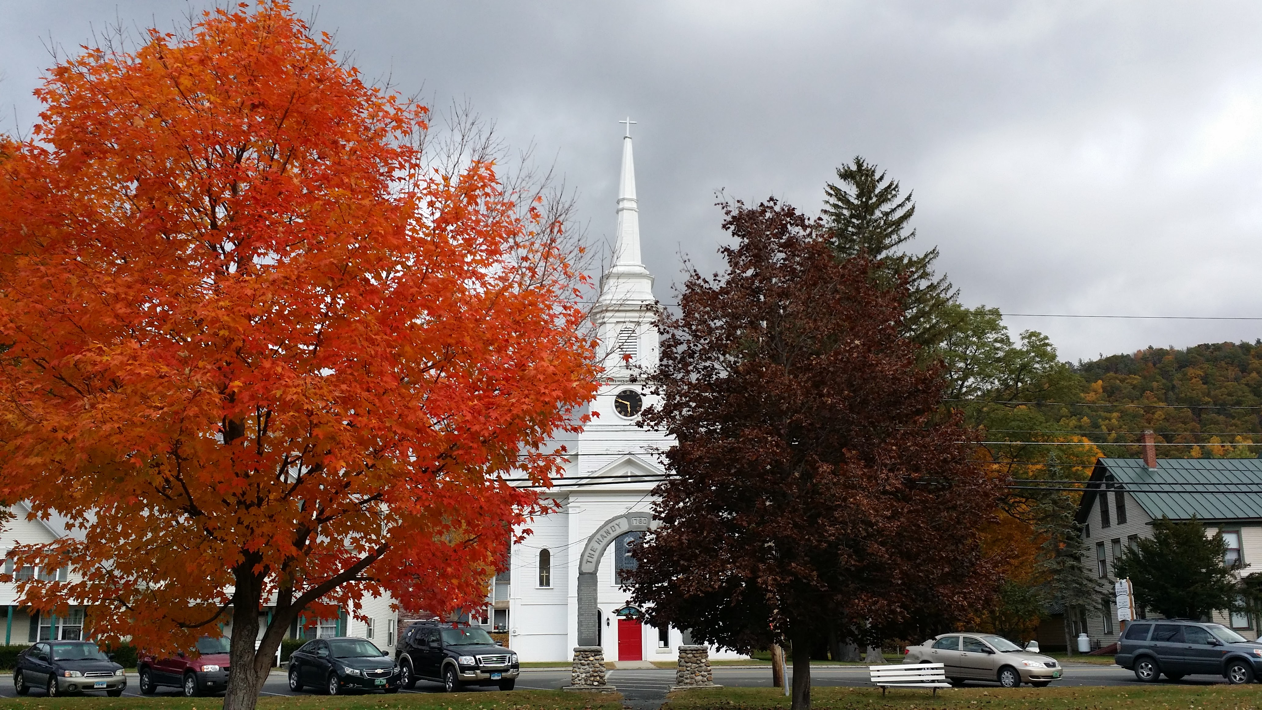 An image of the Red Door Church (United Church) taken by Pastor Josh Moore in the fall of 2015. The Red Door can be seen clearly through the Handy Memorial ... & Red Door Church - Red Door Church
