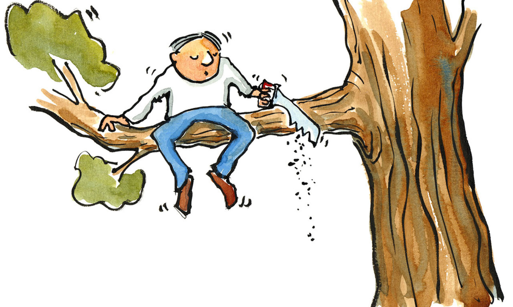 drawing of man sitting on side of tree branch that he's cutting off