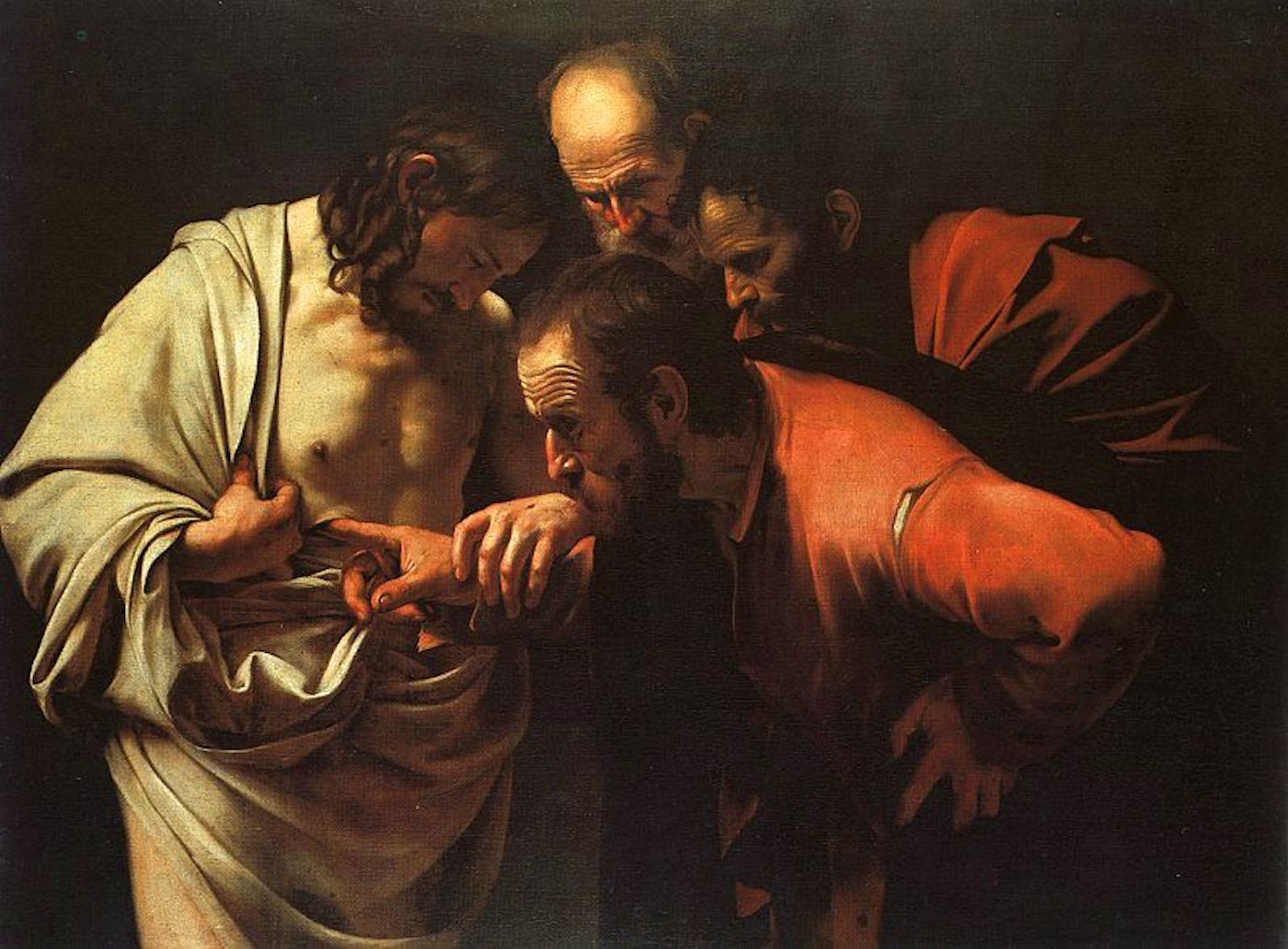 Doubting Thomas putting his fingers in Jesus' side, painting