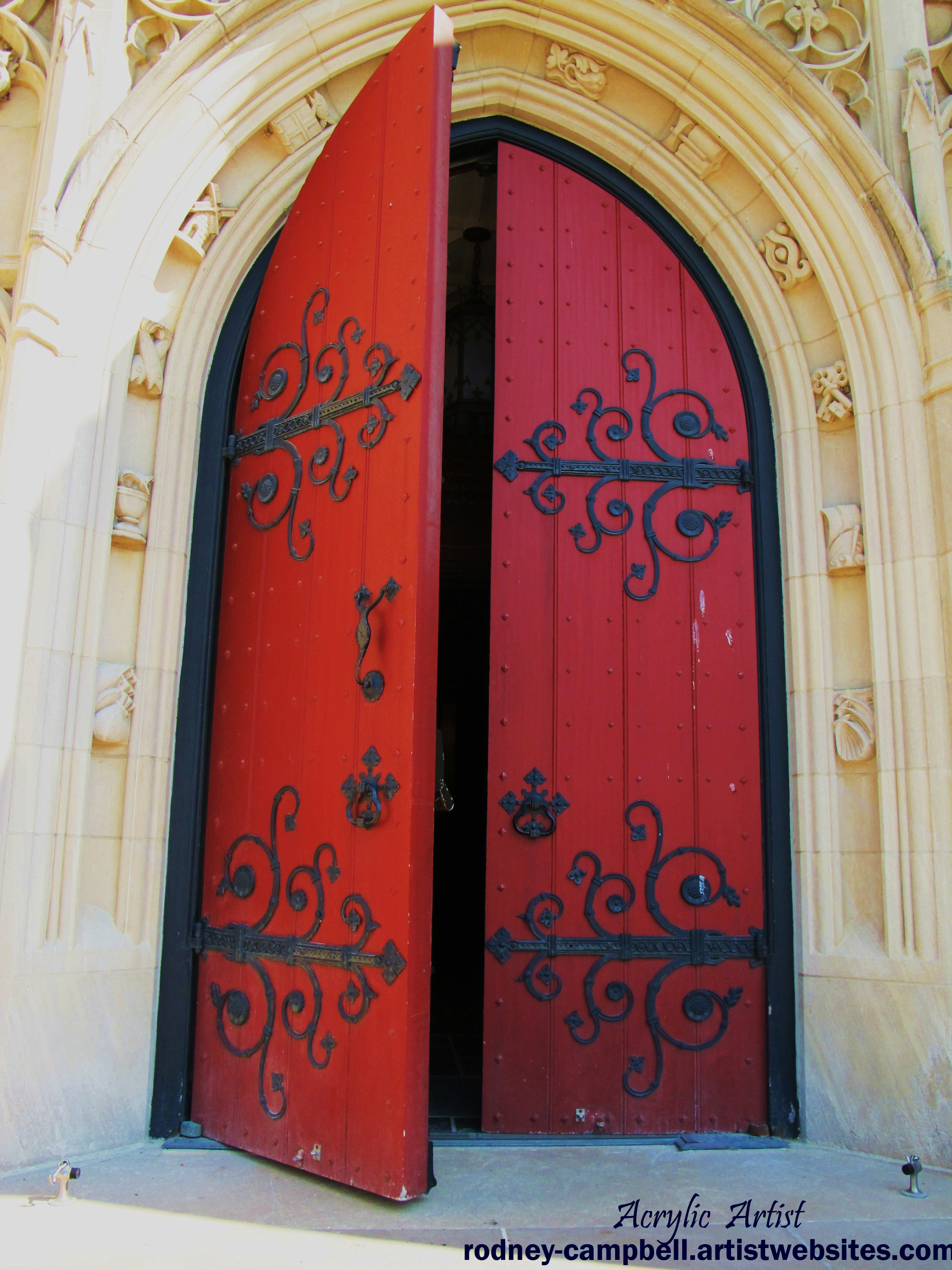 A Destorted dimension  Church-red-door