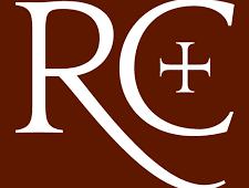 Ratio Christi white letters on crimson red logo